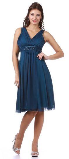 Wedding Guest Teal Dress Tank Straps Knee Length Empire Modest Gown $99.99