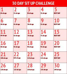 30 day sit up challenge--doing this with my nanny kids haha
