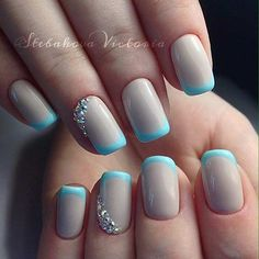 Nude and Light Blue French Tip Nail Design