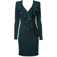 BALMAIN Flounced Dress Green (€1.164) ❤ liked on Polyvore featuring dresses, green cocktail dress, blue dress, blue cocktail dress, flutter dress e blue ruffle dress