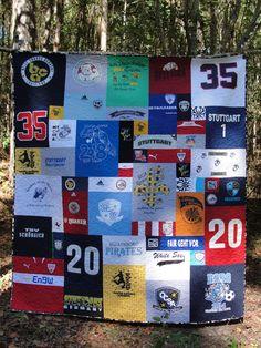 Soccer Tshirt Quilt using Too Cool method.