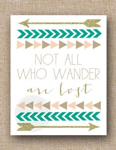 #NotAllWhoWanderAreLost #Quote #Print, #Triangle #Arrow #Chevron #Gold #Emerald #Pink