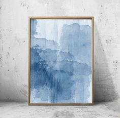 Blue Watercolor Abstract Painting Minimalist Art Indigo Blue