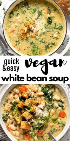 25 minutes · Vegetarian · Serves 8 · This creamy vegan white bean and kale soup comes together in less than 30 minutes. It& the perfect quick and easy dinner when you& looking for something hearty and healthy! White Bean Kale Soup, White Bean Soup, White Beans, Vegan Dinner Recipes, Vegan Dinners, Healthy Recipes, Kale Soup Recipes, Recipes With Kale Vegetarian, Quick Easy Vegan Meals