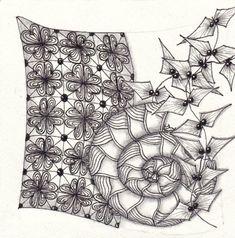 Ein Zentangle aus den Mustern Bumpkenz, Lealap, Lexi, gezeichnet von Ela Rieger, CZT