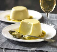 Passion fruit and coconut panna cotta - note: do NOT use powdered gelatine; for the best panna cotta, always use leaf gelatine. Make Ahead Desserts, Just Desserts, Delicious Desserts, Yummy Food, Bbc Good Food Recipes, Sweet Recipes, Cooking Recipes, Cuban Recipes, Dessert Souffle