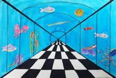 simple perspective drawing... allow the kids to add whatever they like outside the tunnel... could be underwater, outer space, city, etc. Also could add another element. Students must show gradation of color OR they need to show inspiration of another artist. So many possibilities!
