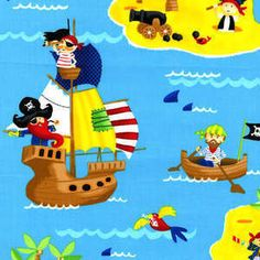 Timeless Treasures, Shipwrecked, Out to Sea in Turq, 1 yard