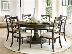 "60"" and can extend to seat 8.  Universal Furniture 