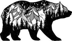Wanderlust • Beautiful black and white bear sticker. Mountains, moon and stars.
