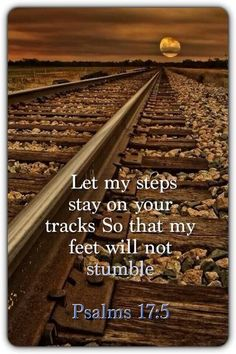 Psalm 17: 5 Let my steps stay on your tracks So that my feet will not stumble