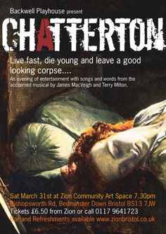 Chatterton Poster - A Playhouse On Tour Production at Zion Community Arts Space - March 2012