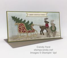 Click through to stampcandy.net for details! Stampin' Up!, Santa's Sleigh, Thoughtful Branches, Gift Card Envelope & Trims Thinlits Dies, 2015-2017 In Color Envelope Paper, Gold Foil Sheets, Real Red, Garden Green, Crumb Cake, Soft Suede, Very Vanilla, Whisper White Craft Stampin' Pad, Mint Macaron, Soft Sky, Gold Stampin' Emboss Powder, Watercolor Paper, Stampin' Spritzer, Aqua Painter, Baker's Twine, Envelope Punch Board, Christmas Card