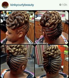 U like the top, just would want the side braids a little thicker. Natural Braided Hairstyles, Natural Hair Updo, African Braids Hairstyles, Natural Hair Care, Natural Hair Styles, Short Hair Styles, Braided Updo, Black Hairstyles, Black Girl Braids