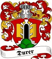 Durer Coat of Arms / Family Crest .. Visit our website at www.4crests.com for lots of great products featuring this family coat of arms. We carry glassware, rings, plaques, flags, prints, jewelry and hundreds of other Crest products. #coatofarms #familycrest #familycrests #coatsofarms #heraldry #family #genealogy #familyreunion #names #history #medieval #codeofarms #familyshield #shield #crest #clan #badge #tattoo #jewelry #crafts #scrapbooking #scrapbook