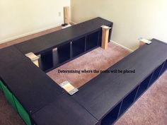 IKEA Hackers: Expedit Queen Platform bed DIY Squires Squires Squires Squires Squires Squires Brown Pendock Sturim - Home Decorating Magazines Ikea Hackers, Plataform Bed, Hack Ikea, Kallax Hack, Ikea Expedit, Home Bedroom, Bedroom Decor, Bedrooms, Bed Platform