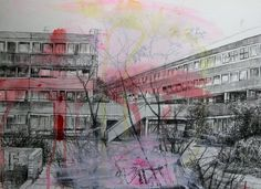 Laura Oldfield Ford London Drifting through the ruins - Exhibition at Hales Gallery in London Art Alevel, Gcse Art Sketchbook, Building Drawing, Urban Nature, Art Diary, Galleries In London, A Level Art, Sense Of Place, Urban Sketching
