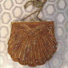 "🛍 Gorg Gold La Regale Beaded clutch Shoulder Bag Kiss lock closure.  Shoulder strap(can be tucked inside).  Good condition.  Beautiful bag!  Measures: 5.75x5.5.  Strap,is 22"". La Regale Bags Clutches & Wristlets"