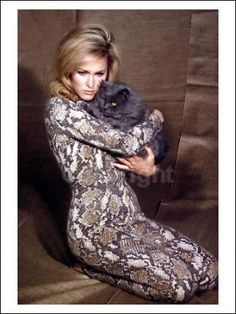 Ursula Andress and her cat