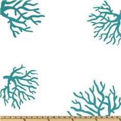 turquoise coral.  fabric for bedroom pillows.
