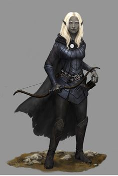 Aklime, Drow, dark elf, exotic elf, drow ranger, archer, female drow, RPG, DnD, D&D, fantasy world, npc, character by Seraph777