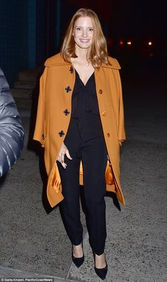 Promo trail: Jessica Chastain was spotted leaving the SVA Theater after a Q&A for her new film, Miss Sloane, in New York on Saturday, and was back to her signature strawberry-blonde shade