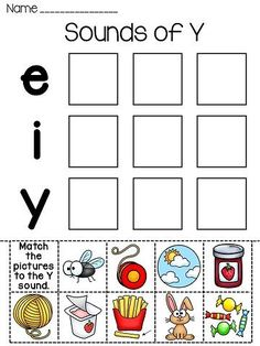 **FREE** Vowel Sounds of Y cut and paste! Great practice for long e for y and long i for y