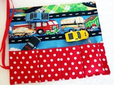 Car Carrier and Road To Go, Matchbox Car Cozy, Hot Wheels Car Wrap, Car Caddy, Car Holder, Car Organizer, Boy Gift Travel Toy Red