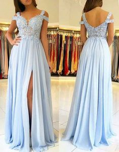 Gorgeous Off the Shoulder Lace Chiffon Long Prom Dress Sky Blue Formal Evening Gown Elegant Prom Gown Sky Blue Formal Gown #dress #gown #prom #prom2018 #homecoming #formaldress #formalgown #weddingparty #promdress #promgown #evening #eveningdress #eveninggown #fashion #skyblue #lace #macloth