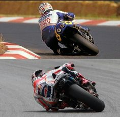 Old and new school Lean angle on bike not massively different though. Old and new school Lean angle on bike not massively different though. Motorcycle Racers, Suzuki Motorcycle, Racing Motorcycles, Motorcycle Outfit, Marc Marquez, Valentino Rossi, Gp Moto, Retro Bike, Super Bikes