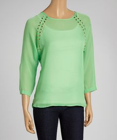 Look at this #zulilyfind! Green & Gold Studded Dolman Top by Larsen Grey #zulilyfinds