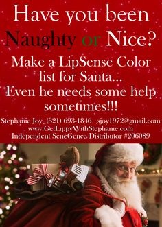 "Are you like me and you never can think of things to tell your husband, partner or family members that you want for Christmas? How about making your LipSense Color list and have your ""Santa"" contact me! I know it's only early November but colors sell out fast so this gives them plenty of time for them to get you EXACTLY what you want!! www.GetLippyWithStephanie.com Order Online today. I ship throughout the USA!! #BlackFriday #LipSenseBlackFriday"