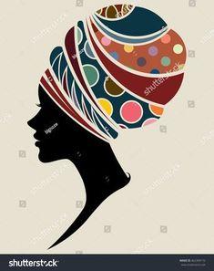 illustration vector of African women silhouette fashion models, beautiful black women.