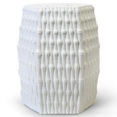 Ravi Global Bazaar White Porcelain Bamboo Stool | Kathy Kuo Home