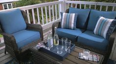 Isn't this outdoor furniture set just beautiful?! This gorgeous set is made with resin wicker with rust-free aluminum and Nuvella performance fabric and is perfect for lounging outdoors! #outdoors #outdoorfurniture #Summer #wicker #colorful #comfort #style #furnituretocomehometo #RegalHouse