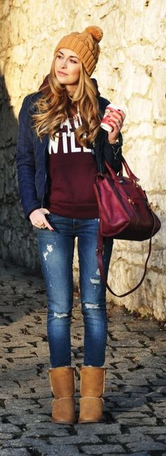 #thanksgiving #outfits Mustard Beanie // Blue Jacket // Ripped Jeans // Camel Booties // Printed Red Sweater // Purple Leather Tote