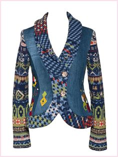 This may have to be my first purchase because it is so wearable. I won't have to save it for special occasions Denim Fashion, Boho Fashion, Fashion Outfits, Hippy Chic, Blazer With Jeans, Country Fashion, Brown Jacket, Fashion Sketches, African Fashion