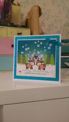Lawn fawn toboggan together christmas card