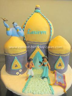 My daughter is having a Princess Jasmine theme party this year. I decided to make her an Arabian Castle cake to match the theme. Aladdin Cake, Aladdin Party, Princess Jasmine Cake, Princess Party, Gorgeous Cakes, Amazing Cakes, Arabian Nights Party, Jasmine Party, Cool Birthday Cakes