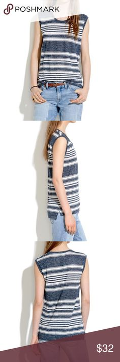 Madewell Modern Linen Muscle Tee in Stripe ▹SIZE: XS  ▹MATERIAL:  100% linen  ▹CONDITION: Like new condition. No signs of wear Madewell Tops Muscle Tees