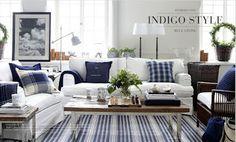 Maine living room, blue and white, coastal...