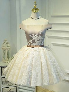 Lovely Homecoming Dresses,A-line Homecoming Dresses,Off Shoulder Homecoming Dresses,Lace Applique Ho on Luulla