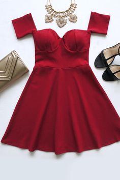 Celebrate Good Times Off-the-Shoulder Wine Red Dress