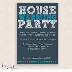 HOUSE WARMING  Blue   DIY Printable Party by breecraftdesigns, $20.00