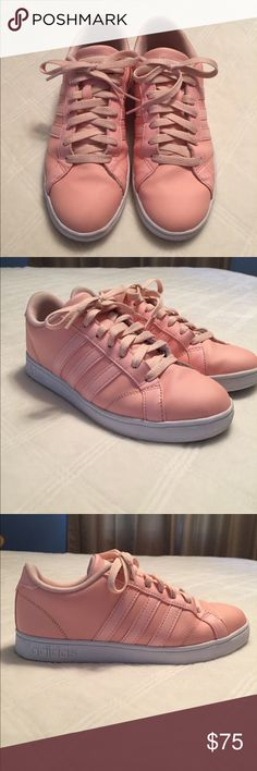 Woman's Adidas Neo Baseline Unique color! Size 6. Barely worn. Minor wear on bottom of shoe, no blemishes or marks on top or sides. The width of shoe is standard.   Description from Adidas:  Cool and court-inspired, the Baseline woman's shoe from adidas blends retro style with modern comfort. It's crafted using simple leather and designed with the iconic 3-Stripes for authentic appeal.  Leather upper with signature 3 strip accents Lace up front with padded tongue and collar Cloudfoam comfort…