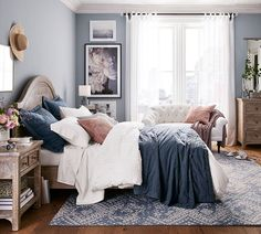 Smart designs, easy decorating and amazing prices: Meet PB Apartment/the light blue and navy together? Bedroom Inspo, Home Decor Bedroom, Master Bedroom Color Ideas, Adult Bedroom Ideas, Bedroom Ideas For Small Rooms For Adults, Blue Bedroom Ideas For Couples, Relaxing Bedroom Colors, Small Bedroom Paint Colors, Purple Master Bedroom