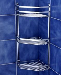 Satina chrome triple corner caddy for the shower has three shelves in which all your shower accessories should fit and front guard rails, with screws Bathroom Wall Baskets, Bathroom Corner Shelf, Corner Shower Caddy, Shower Shelves, Baskets On Wall, Shower Caddies, Corner Shelves, Pop Up Trundle Bed, Shower Sizes