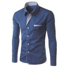 15.58$  Buy now - http://di6zu.justgood.pw/go.php?t=189213401 - Stylish Turn-Down Collar Stripe Spliced Long Sleeve Shirt For Men