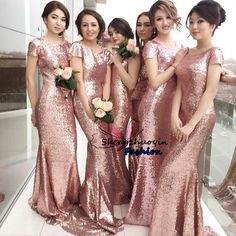 Stunning Rose Gold Sequined Mermaid Bridesmaid Dresses 2016 Scoop Neck Short Sleeves Zipper Back Sweep Train Champagne Formal Evening Gowns Pastel Bridesmaid Dresses Bridesmaid Dresses Cheap From Shengzhuoyin, $115.28| Dhgate.Com