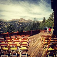 Would you get married here?  This Breckenridge wedding venue sits above 10,200 feet.  It's probably a good idea to get the oxygen guy's number, because this view is gonna take your guest's breath away! ;)  The Lodge and Spa at Breckenridge  www.celebrationsbykat.com